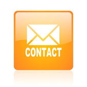 Contact orange square glossy web icon — Stock Photo