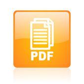 Pdf のオレンジ正方形光沢のあるウェブのアイコン — ストック写真