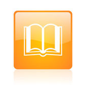 Book orange square glossy web icon — Stock Photo