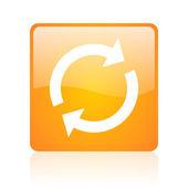 Reload orange square glossy web icon — Stock Photo