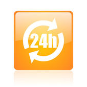24h orange square glossy web icon — Stock Photo