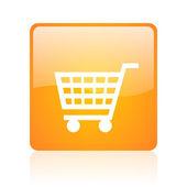 Shopping cart orange square glossy web icon — Stock Photo