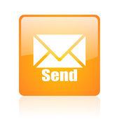 Send orange square glossy web icon — Stock Photo