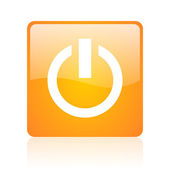 Power orange square glossy web icon — Stock Photo