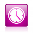 Stock Photo: Clock violet square web glossy icon