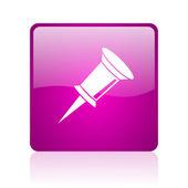 Szpilka web kwadrat fioletowy ikona — Zdjęcie stockowe