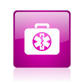 Rescue kit violet square web glossy icon — Stock Photo