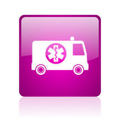 Ambulance violet square web glossy icon — Stock Photo