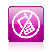 No phones violet square web glossy icon — Stock Photo