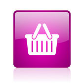 Shopping cart violet square web glossy icon — Stock Photo