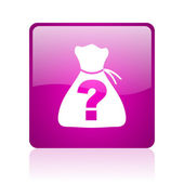 Riddle violet square web glossy icon — Stock Photo