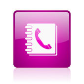 Phonebook violet square web glossy icon — Stock Photo