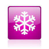 Snowflake violet square web glossy icon — Stock Photo