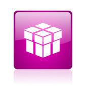 Pole web kwadrat fioletowy ikona — Zdjęcie stockowe