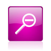 Magnification violet square web glossy icon — Stock Photo