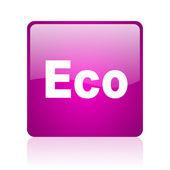 Eco web kwadrat fioletowy ikona — Zdjęcie stockowe