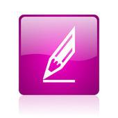 Narysuj web kwadrat fioletowy ikona — Zdjęcie stockowe
