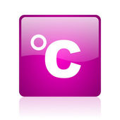 Celsius violet square web glossy icon — Stock Photo