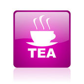 Tea violet square web glossy icon — Stock fotografie