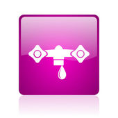 Water violet square web glossy icon — Stock Photo