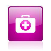 Zestaw pierwszej pomocy web kwadrat fioletowy ikona — Zdjęcie stockowe