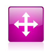 Arrows violet square web glossy icon — Stock fotografie