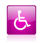 Accessibility violet square web glossy icon — Stock Photo