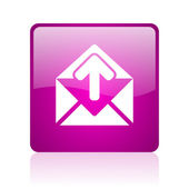 Mail violet square web glossy icon — Stock Photo