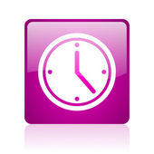 Clock violet square web glossy icon — Stock Photo