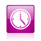 фиолетовый квадратных веб глянцевой значок часов — Стоковое фото