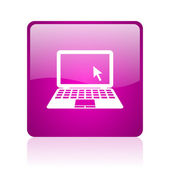 Notebook violet square web glossy icon — Stock Photo