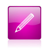 Pencil violet square web glossy icon — 图库照片