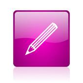 Icono de lápiz de web cuadrado violeta brillante — Foto de Stock