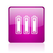 Batteries violet square web glossy icon — Stock Photo