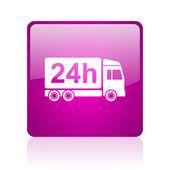 Icona di consegna 24h web quadrati viola lucido — Foto Stock