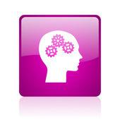 Head violet square web glossy icon — Stock Photo