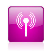 Wifi violet vierkante web glanzende pictogram — Stockfoto