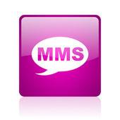 Ikona lesklý fialový čtvercové webové mms — Stock fotografie