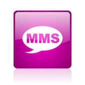 Mms violet square web glossy icon — Stock Photo