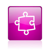 Puzzle violet square web glossy icon — Stock Photo