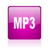Mp3 web kwadrat fioletowy ikona — Zdjęcie stockowe