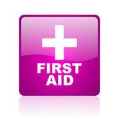 Pierwsza pomoc web kwadrat fioletowy ikona — Zdjęcie stockowe