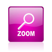 Zoom violet square web glossy icon — Foto de Stock