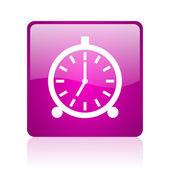 Alarm clock violet square web glossy icon — Stock Photo