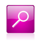Search violet square web glossy icon — Foto Stock