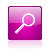 Szukaj web kwadrat fioletowy ikona — Zdjęcie stockowe