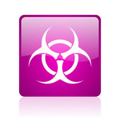 Virus violet square web glossy icon — Stock Photo