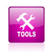 Narzędzia web kwadrat fioletowy ikona — Zdjęcie stockowe
