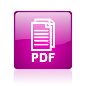 Pdf violet square web glossy icon — Stock Photo