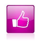 Kciuk w górę web kwadrat fioletowy ikona — Zdjęcie stockowe